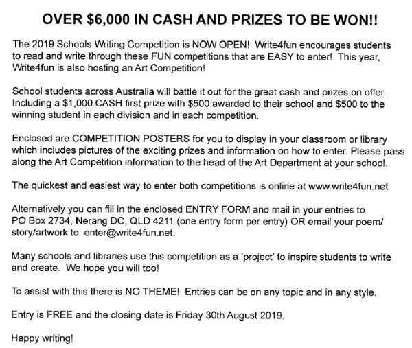 Schools writing competition